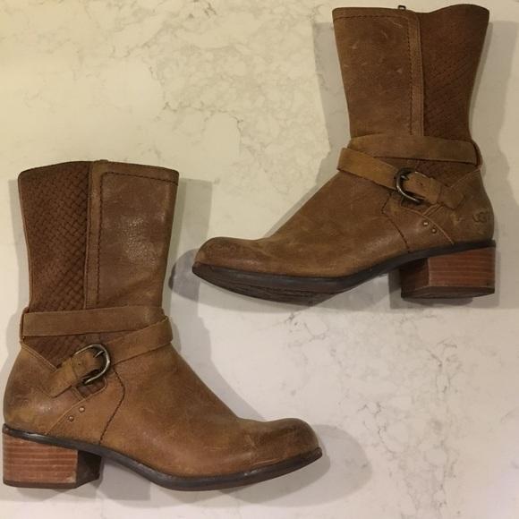 UGG Shoes - UGG leather basket weave Moto boots